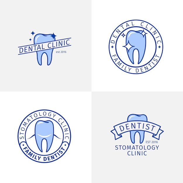 Zestaw Szablonów Logo Niebieski Kontur Kliniki Dentystycznej Premium Wektorów