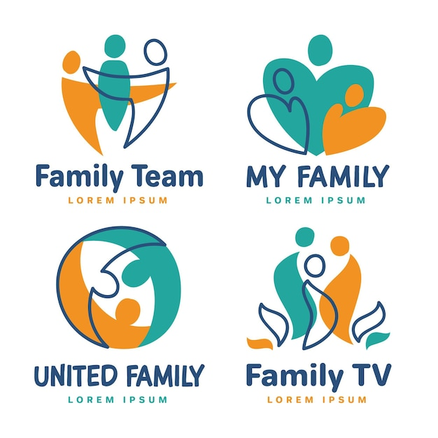Zestaw Szablonów Logo Rodziny Darmowych Wektorów