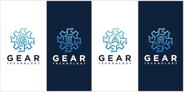 Zestaw Szablonów Logo Wektor Technologii Przekładni. Premium Wektorów