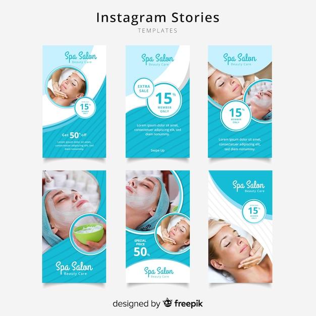 Zestaw szablonów opowiadań spa instagram Darmowych Wektorów