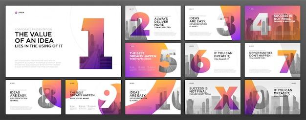 Zestaw szablonów powerpoint prezentacji biznesowych Premium Wektorów