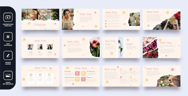 Zestaw Szablonów Prezentacji Slajdów Kwiaciarni Premium Wektorów