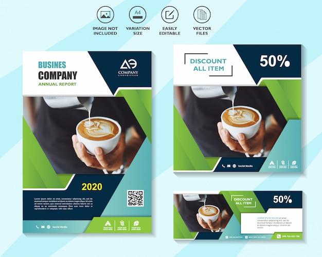 Zestaw Szablonów Projektów Biznesowych Dla Sieci Rozwiązań Mobilnych Marketingu Cyfrowego Premium Wektorów