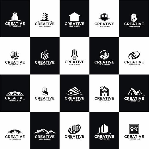 Zestaw Szablonów Projektów Logo Nieruchomości Kolekcji Premium Wektorów