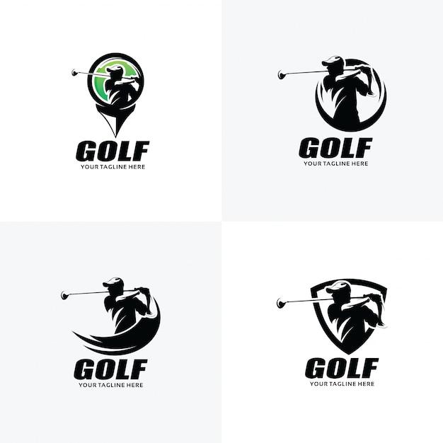 Zestaw szablonów projektu logo golf Premium Wektorów