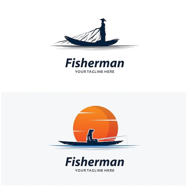 Zestaw szablonów projektu logo rybaka Premium Wektorów