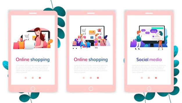 Zestaw szablonów projektu strony internetowej do zakupów online, marketingu cyfrowego, mediów społecznościowych. nowoczesne koncepcje ilustracji wektorowych do tworzenia stron internetowych i mobilnych. Premium Wektorów