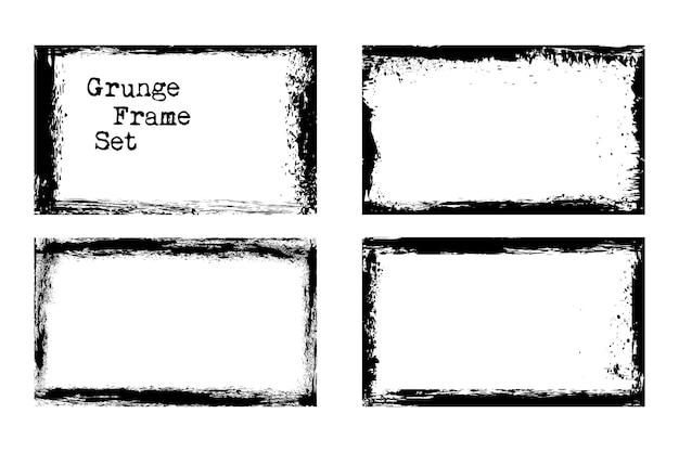 Zestaw Szablonów Ramek Grunge Wektor Brudny I Brudny. Ilustracji Wektorowych Darmowych Wektorów