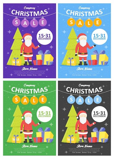 Zestaw Szablonów Strony Internetowej Wakacje Sprzedaż. Ilustracje świąteczne I Noworoczne Premium Wektorów