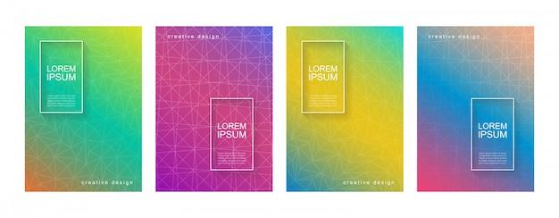 Zestaw Szablonów Tło Okładka Streszczenie Minimalny Gradient Geometryczny Premium Wektorów
