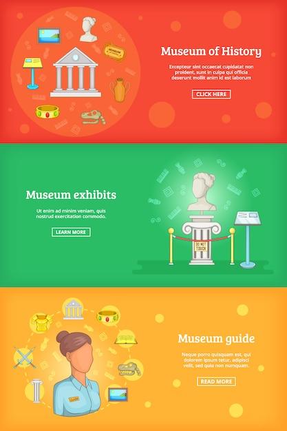 Zestaw szablonów transparentu muzeum Premium Wektorów