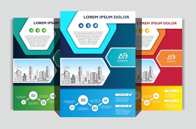 Zestaw Szablonów Ulotek Biznesowych Premium Wektorów