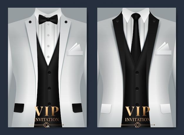 Zestaw szablonów wizytówek z garnitur i smoking i miejsce dla tekstu dla ciebie Premium Wektorów