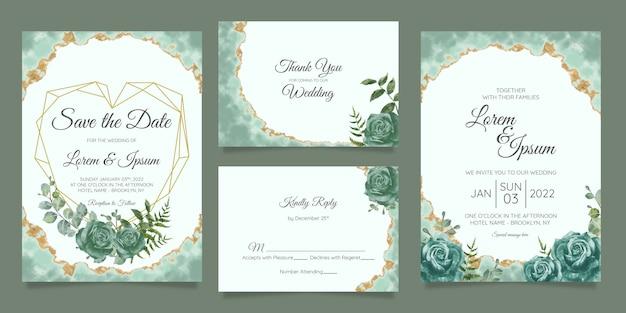 Zestaw Szablonów Zaproszenia ślubne Kwiatowy Premium Wektorów