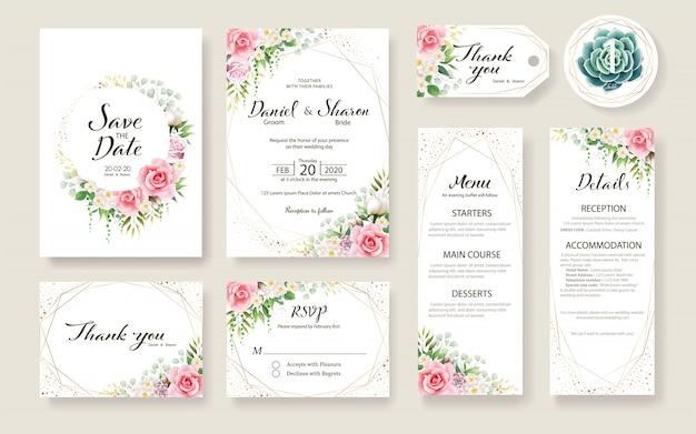 Zestaw szablonu karty ślub kwiatowy zaproszenie. kwiat róży, rośliny zielone. Premium Wektorów