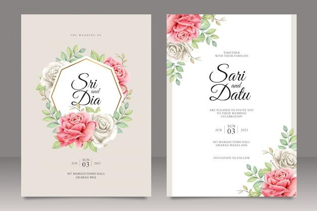 Zestaw szablonu karty ślub z uniwersalnym ramki kwiatowy Premium Wektorów