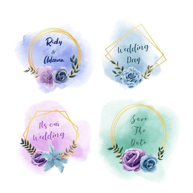 Zestaw szablonu karty zaproszenia ślubne, kolekcja piękny kwiatowy akwarela złotej ramie Premium Wektorów
