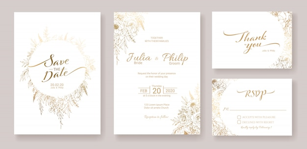 Zestaw Szablonu Karty Zaproszenia ślubne. Złoty Kwiat. Premium Wektorów