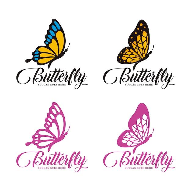 Zestaw szablonu logo motyl Premium Wektorów