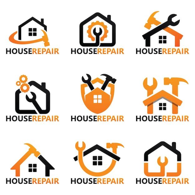 Zestaw Szablonu Logo Naprawy Domu Premium Wektorów