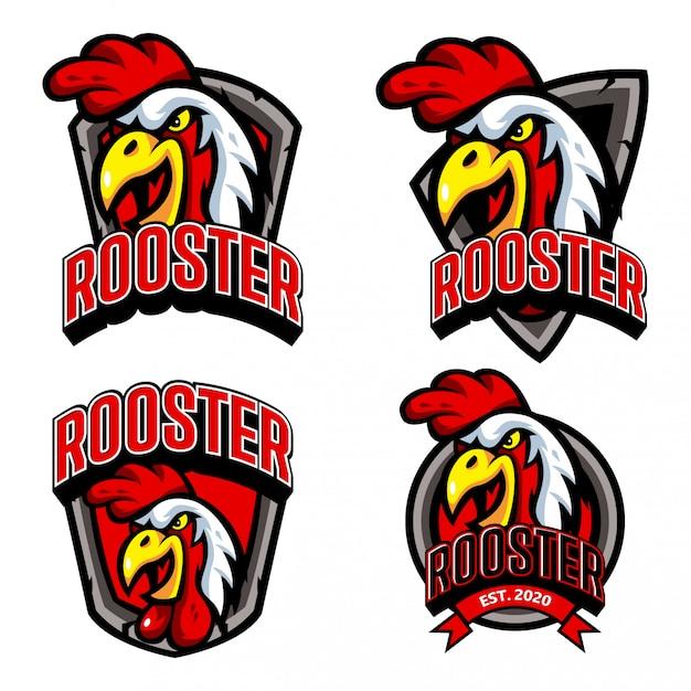 Zestaw Szablonu Logo Restauracji Kurczaka Rooster Esports Premium Wektorów