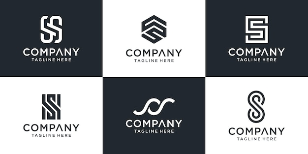Zestaw Szablonu Logo Streszczenie Monogram Litery S. Premium Wektorów