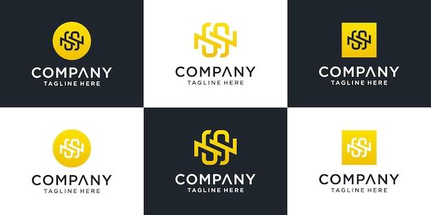 Zestaw Szablonu Logo Streszczenie Pierwsza Litera Ns. Dla Biznesu Mody, Doradztwa, Budownictwa, Prostego. Premium Wektorów