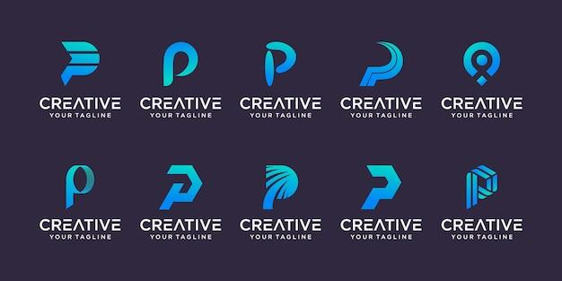Zestaw Szablonu Logo Streszczenie Pierwsza Litera P. Ikony Dla Biznesu Mody, Motoryzacji, Finansów Premium Wektorów