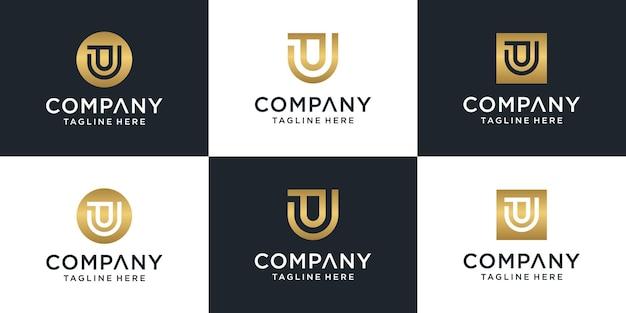 Zestaw Szablonu Logo Streszczenie Pierwsza Litera Pu. Dla Biznesu Mody, Doradztwa, Budownictwa, Prostego. Premium Wektorów