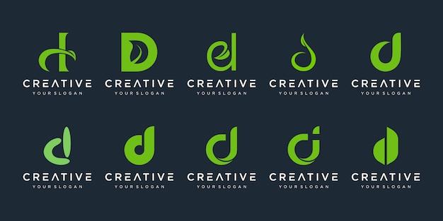 Zestaw Szablonu Logo Streszczenie Początkowa Litera D. Ikony Dla Biznesu Piękna, Spa, Natury, Czyste, Proste. Premium Wektorów