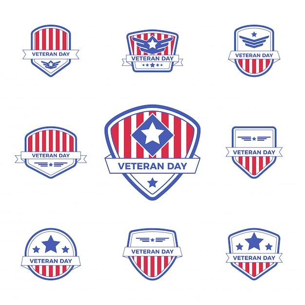 Zestaw szablonu odznaka logo dzień weterana z czerwono-niebieskim wzorem na wydarzenie lub pieczęć. Premium Wektorów