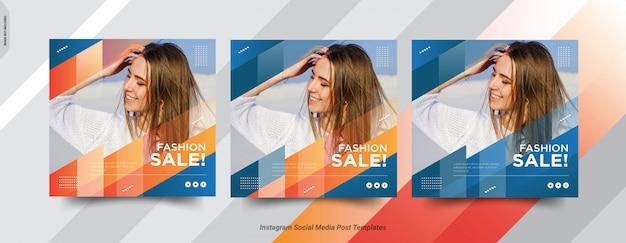 Zestaw Szablonu Postu Fashion-insta W Mediach Społecznościowych Premium Wektorów