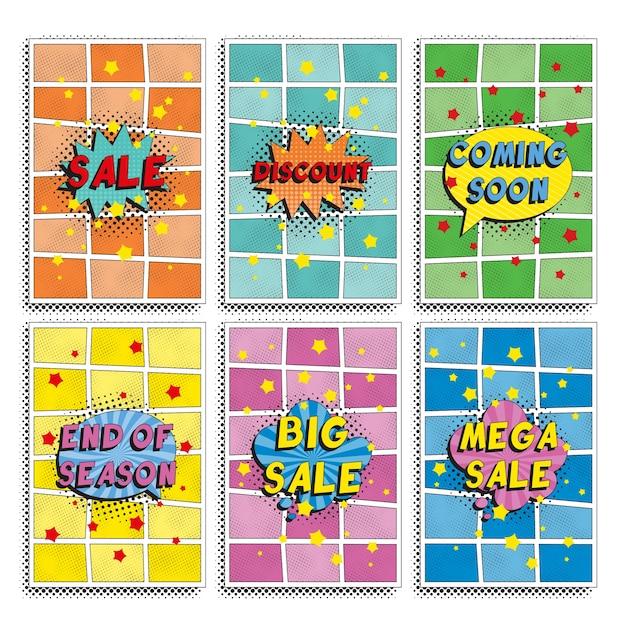 Zestaw Szablonu Projektu Banerów `` Sprzedaż '' W Stylu Retro Pop-art. Ilustracja Promocji Prostych Płaskich Kolorów. łatwe Do Edycji I Dostosowywania. Premium Wektorów