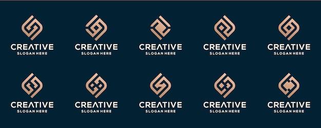 Zestaw Szablonu Projektu Streszczenie Początkowe Logo Premium Wektorów