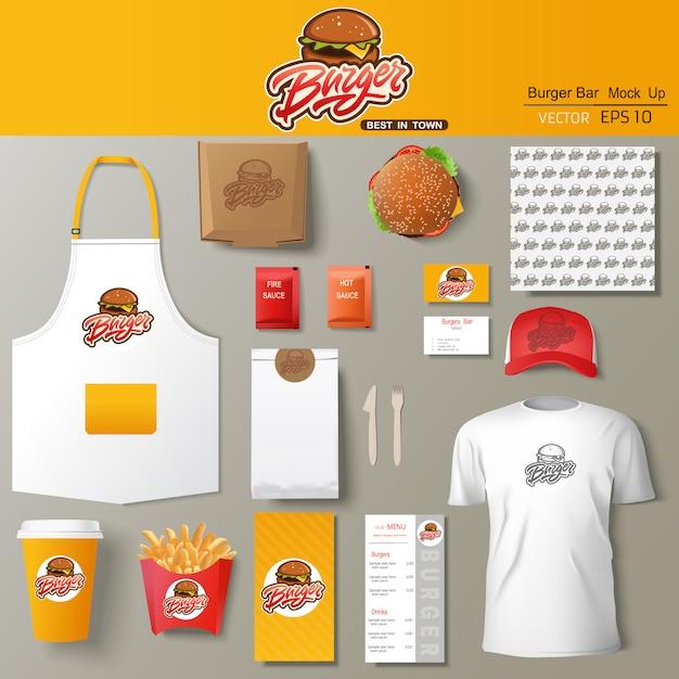 Zestaw Szablonu Projektu Tożsamości Korporacyjnej Burger Bar. Szablon Marki. Premium Wektorów