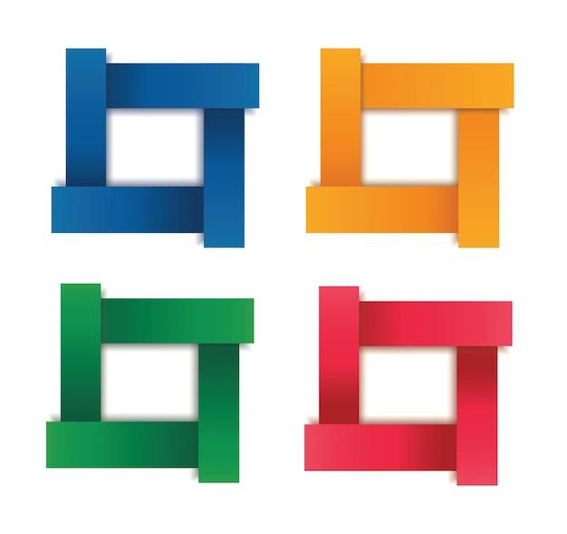 Zestaw Szablonu Ramki Nowoczesny Kwadrat Na Białym Tle Kolor Premium Wektorów