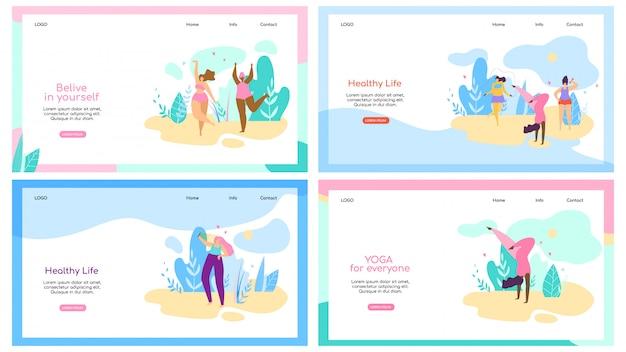 Zestaw szablonu sieci web strony docelowej z atrakcyjnych kobiet z nadwagą zdrowego stylu życia Premium Wektorów