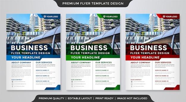 Zestaw Szablonu Ulotki Biznesowej W Stylu Premium Premium Wektorów