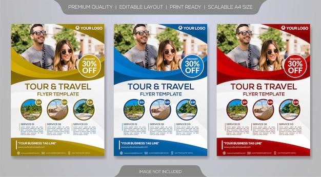 Zestaw szablonu ulotki dla organizatora wycieczek lub biura podróży Premium Wektorów