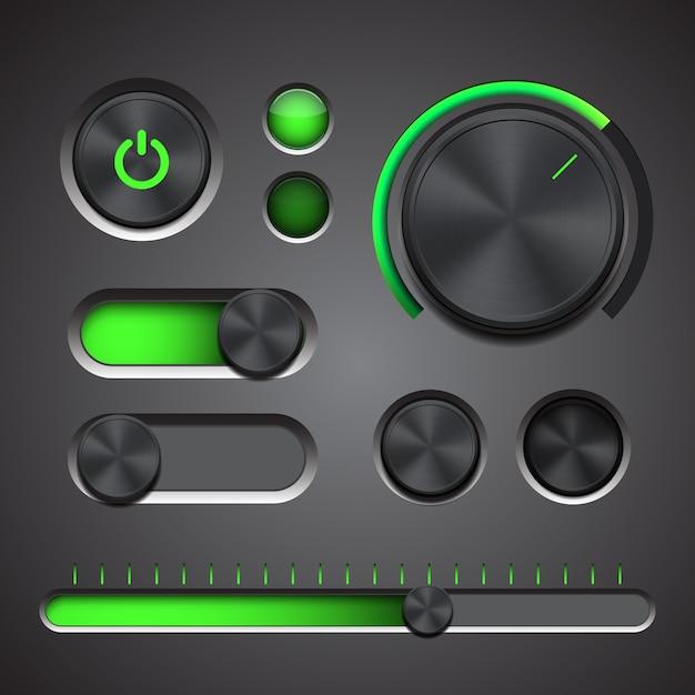 Zestaw Szczegółowych Elementów Interfejsu Użytkownika Z Pokrętłem, Przełącznikami I Suwakiem W Metalicznym Stylu. Premium Wektorów