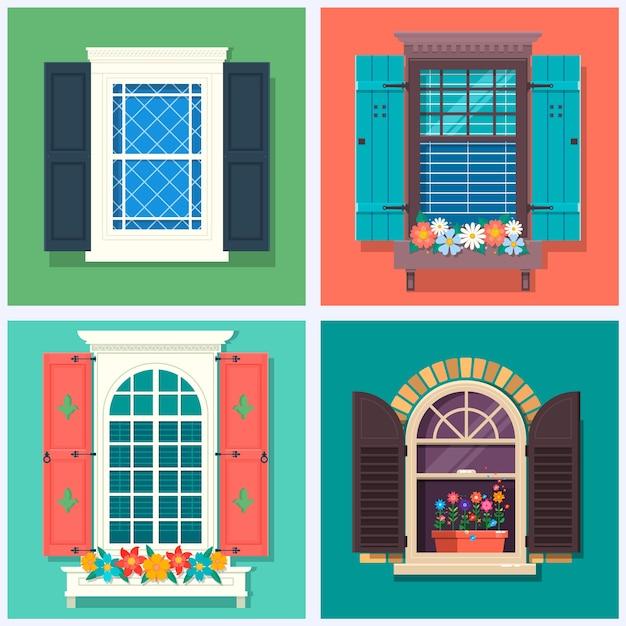 Zestaw szczegółowych różnych kolorowych okien Premium Wektorów