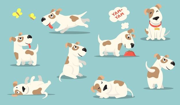 Zestaw Szczęśliwy Mały Pies. śliczny Zabawny Szczeniak Wykonujący Różne Czynności, Polowanie, Zabawa, Jedzenie, Spanie. Darmowych Wektorów