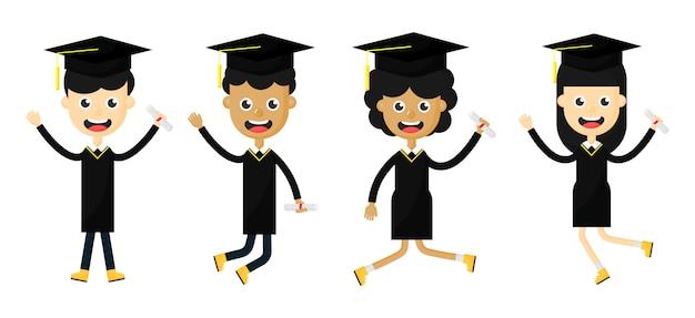 Zestaw Szczęśliwych Dzieci Po Ukończeniu Szkoły Premium Wektorów