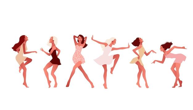 Zestaw Szczęśliwych Dziewcząt Lub Przyjaciół Tańczących I śmiejących Się. Premium Wektorów