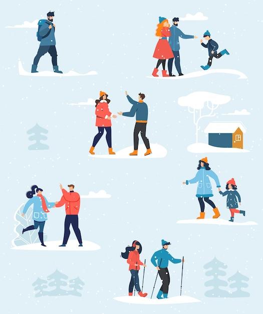 Zestaw szczęśliwych ludzi i rodzinne wakacje zimowe wakacje Premium Wektorów