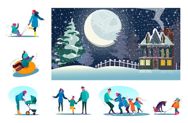 Zestaw Szczęśliwych Rodzin, Ciesząc Się Zimą Na Obszarach Wiejskich Darmowych Wektorów
