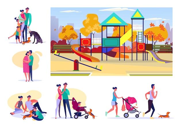 Zestaw Szczęśliwych Rodzin Spędzających Czas Razem Darmowych Wektorów