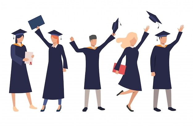 Zestaw szczęśliwych uczniów szkół średnich Darmowych Wektorów