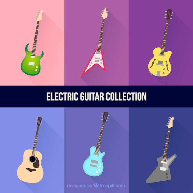 Zestaw sześciu elektrycznych gitar Darmowych Wektorów