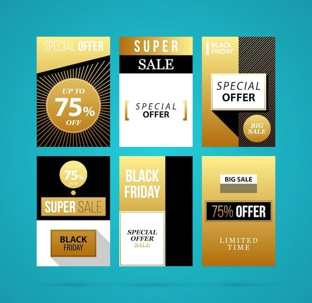 Zestaw Sześciu Plakaty Czarny Piątek W Złotym Stylu Na